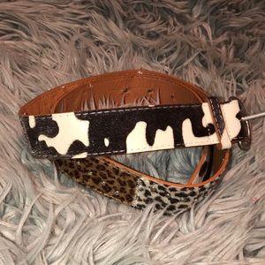 UO vegan faux fur animal print belt sm